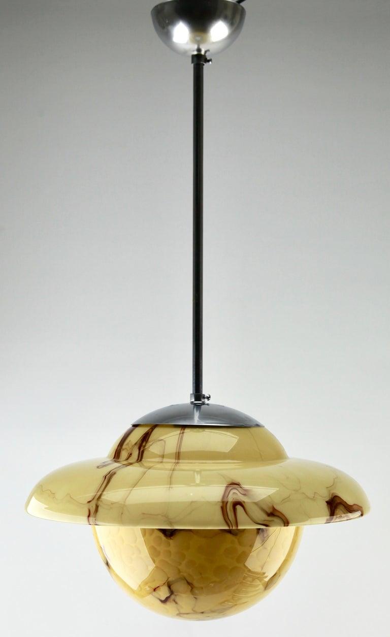 Art Deco Ceiling Lamp, Scailmont Belgium Glass Shade, 1930s 3