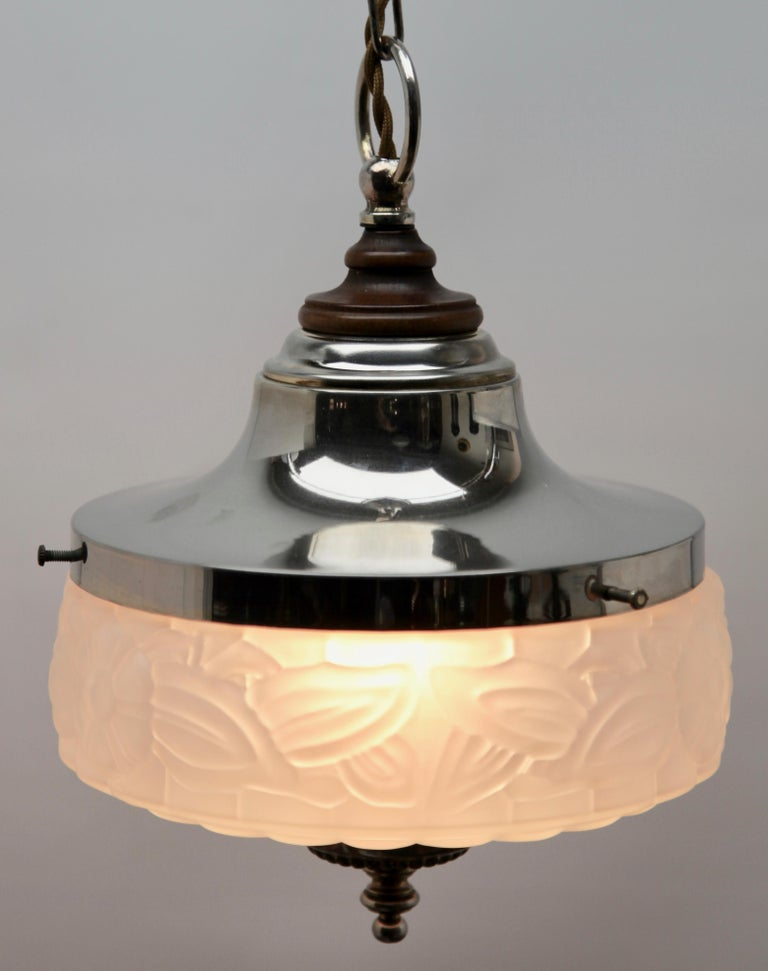 Belgian Art Deco Ceiling Lamp, Scailmont Belgium Glass Shade, 1930s For Sale