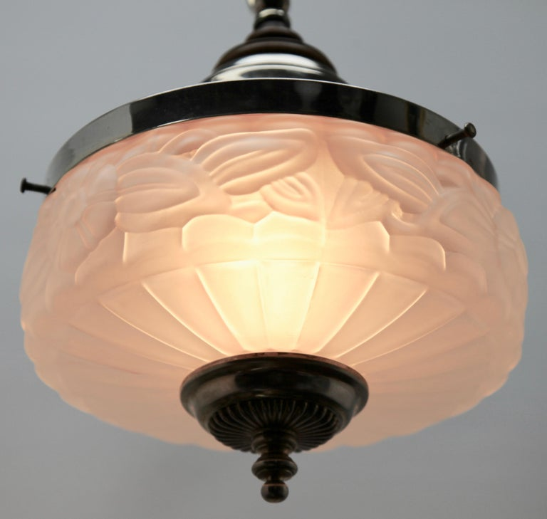 Mid-20th Century Art Deco Ceiling Lamp, Scailmont Belgium Glass Shade, 1930s For Sale