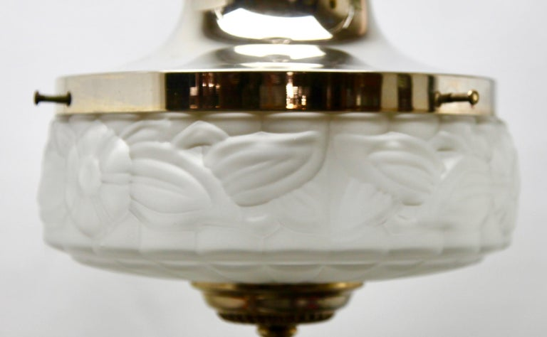 Brass Art Deco Ceiling Lamp, Scailmont Belgium Glass Shade, 1930s For Sale