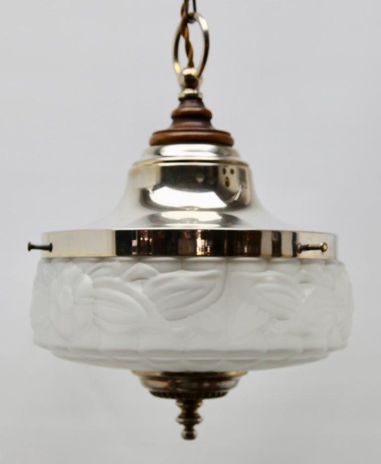 Art Deco Ceiling Lamp, Scailmont Belgium Glass Shade, 1930s For Sale 1