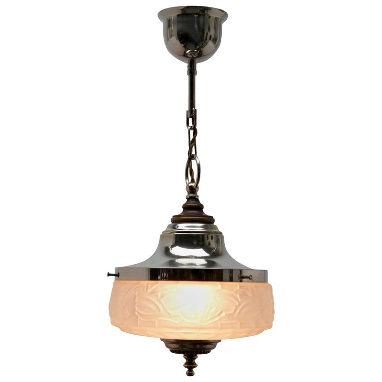 Art Deco Ceiling Lamp, Scailmont Belgium Glass Shade, 1930s For Sale