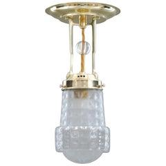 Art Deco Ceiling Lamp with Original Glass Shade, Vienna, circa 1920s