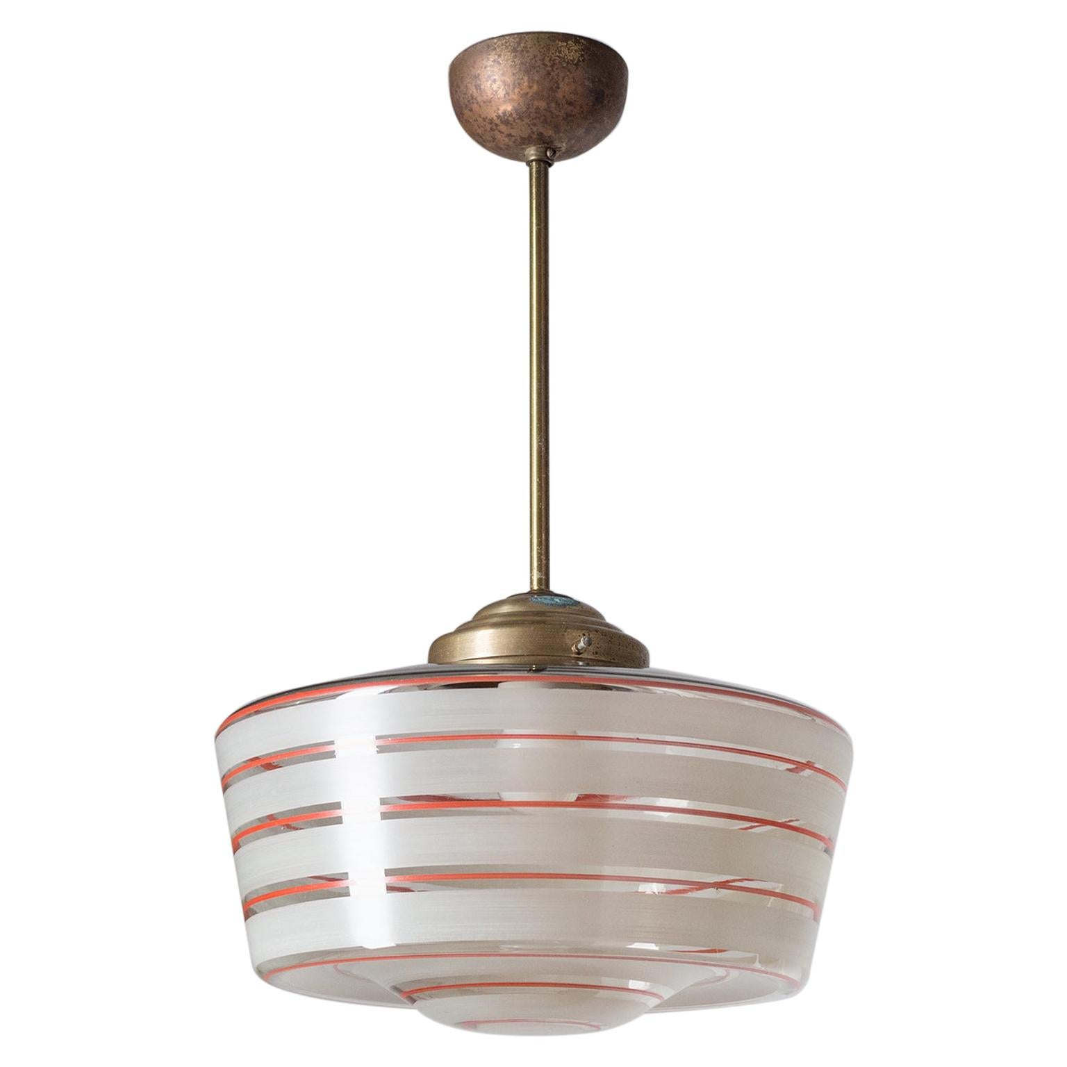 Art Deco Ceiling Light, circa 1930, Hand-Painted Glass and Brass