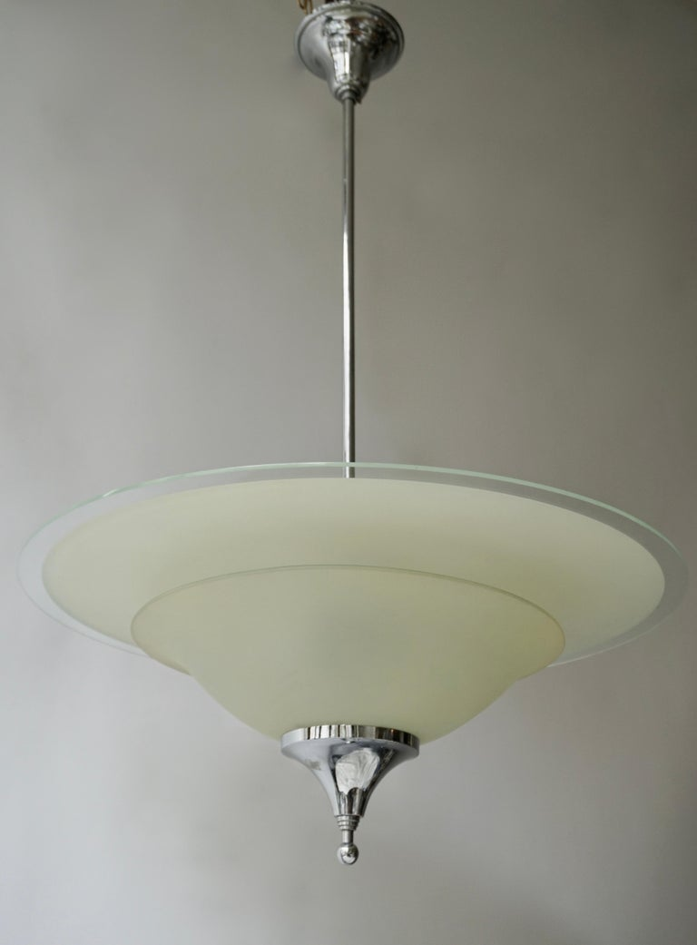 Art Deco Ceiling Light in Glass and Chrome, Belgium, 1930s For Sale 3