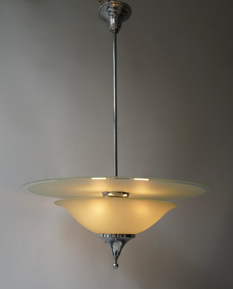 Mid-Century Modern Art Deco Ceiling Light in Glass and Chrome, Belgium, 1930s For Sale