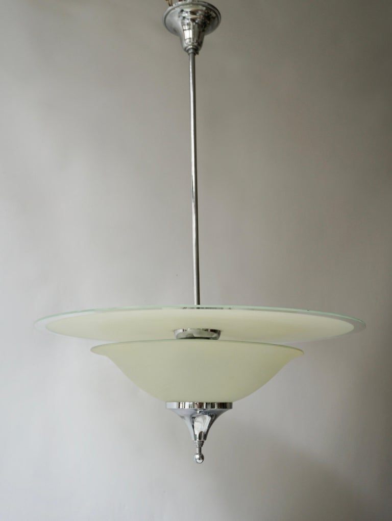 Belgian Art Deco Ceiling Light in Glass and Chrome, Belgium, 1930s For Sale