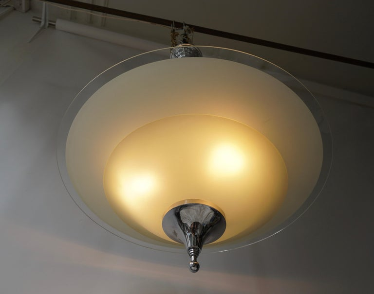 Frosted Art Deco Ceiling Light in Glass and Chrome, Belgium, 1930s For Sale