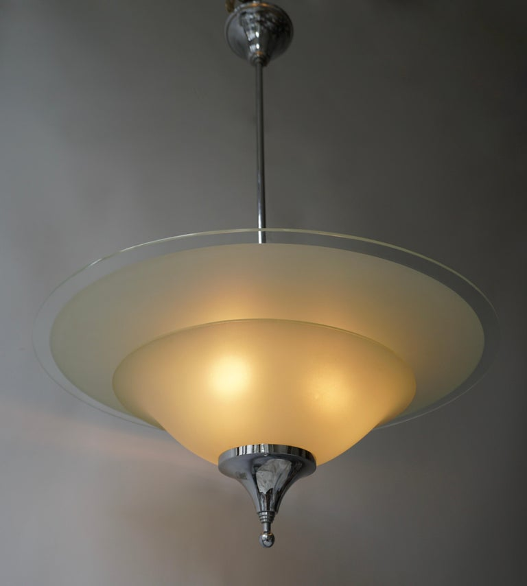 20th Century Art Deco Ceiling Light in Glass and Chrome, Belgium, 1930s For Sale