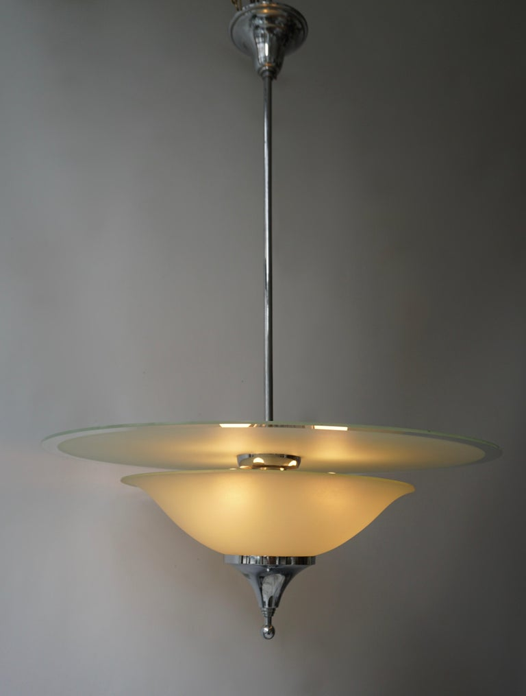 Art Deco Ceiling Light in Glass and Chrome, Belgium, 1930s For Sale 1