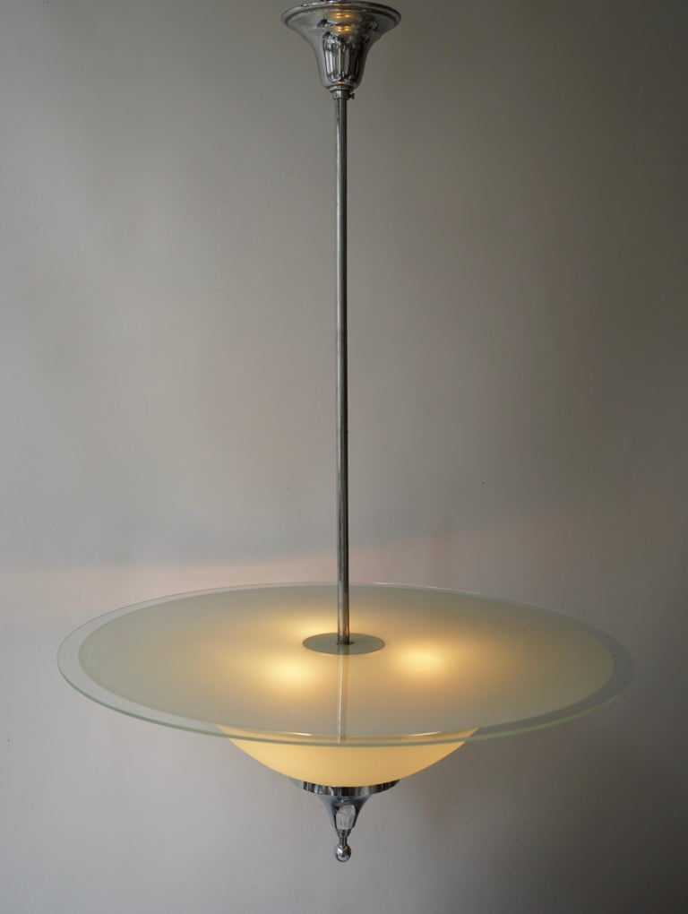 Art Deco Ceiling Light in Glass and Chrome, Belgium, 1930s For Sale 2