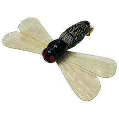 Art Deco Celluloid Dragonfly Insect Brooch Pin