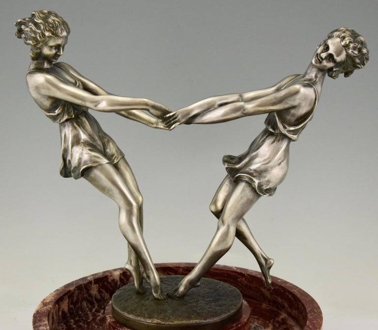 Art Deco Centerpiece with Bronze Sculpture of Dancing Girls Andre Gilbert, 1925 For Sale 5