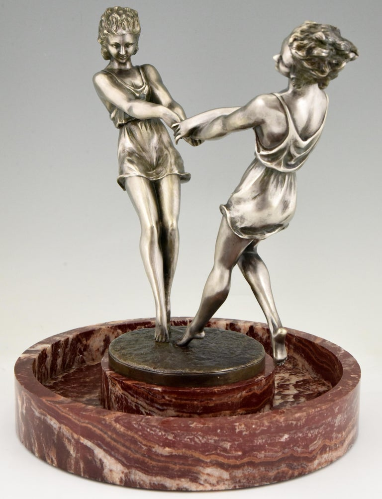 French Art Deco Centerpiece with Bronze Sculpture of Dancing Girls Andre Gilbert, 1925 For Sale