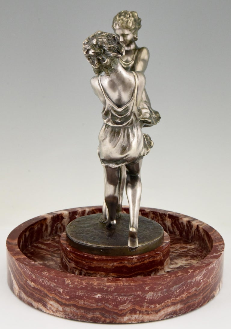 Art Deco Centerpiece with Bronze Sculpture of Dancing Girls Andre Gilbert, 1925 In Good Condition For Sale In Antwerp, BE