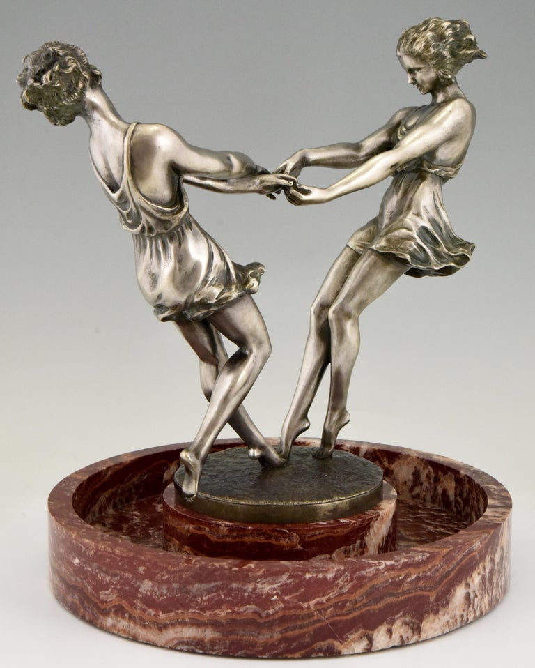 Early 20th Century Art Deco Centerpiece with Bronze Sculpture of Dancing Girls Andre Gilbert, 1925 For Sale