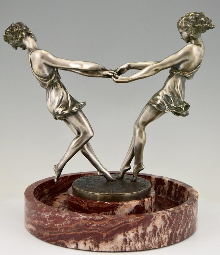 Art Deco Centerpiece with Bronze Sculpture of Dancing Girls Andre Gilbert, 1925 For Sale 1