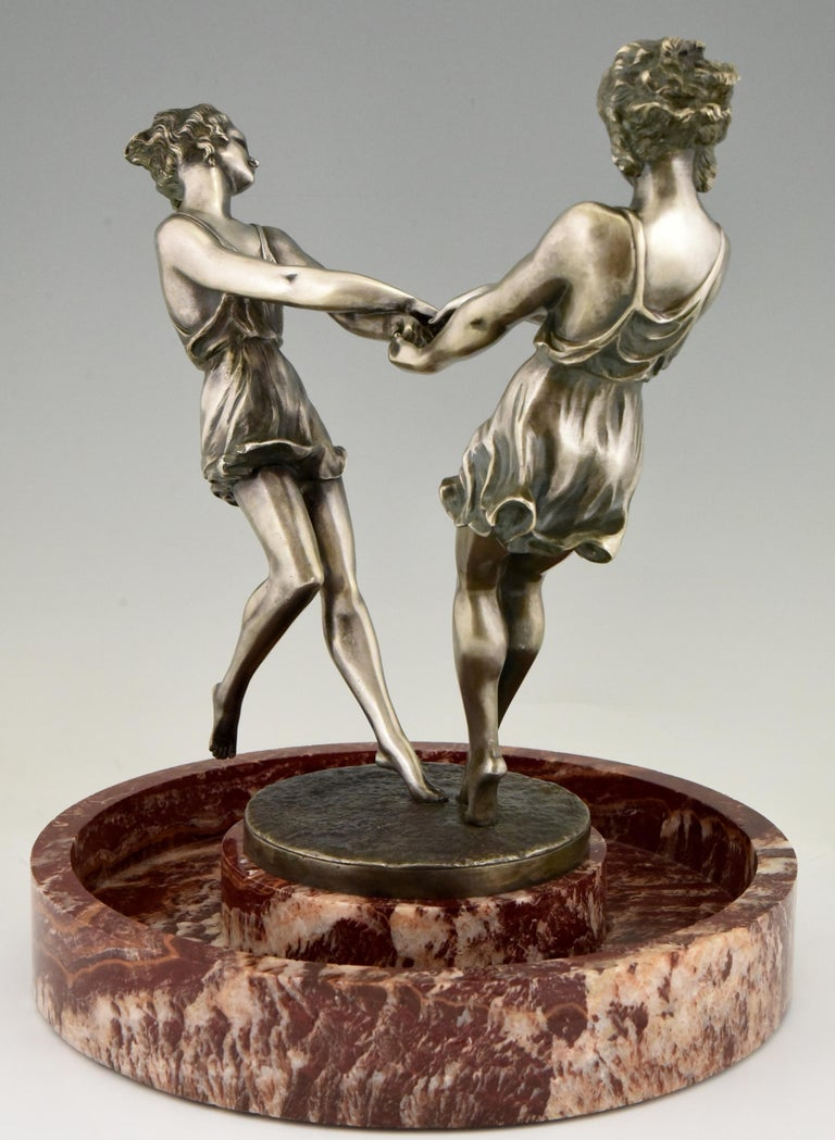 Art Deco Centerpiece with Bronze Sculpture of Dancing Girls Andre Gilbert, 1925 For Sale 2