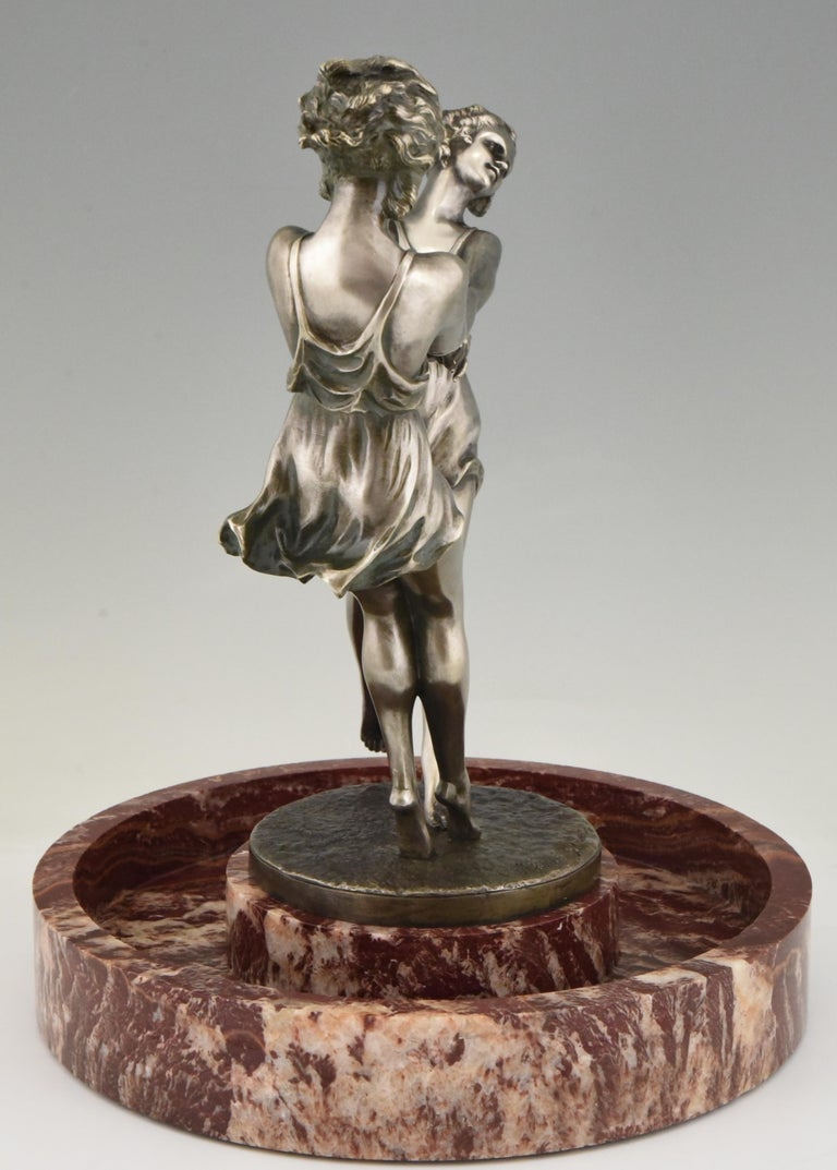 Art Deco Centerpiece with Bronze Sculpture of Dancing Girls Andre Gilbert, 1925 For Sale 3