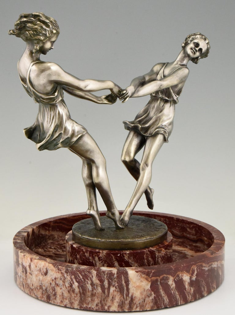 Art Deco Centerpiece with Bronze Sculpture of Dancing Girls Andre Gilbert, 1925 For Sale 4