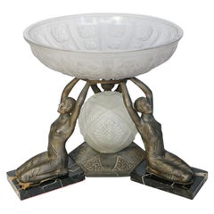 Art Deco Centrepiece by Limousin, Moulded Glass and Spelter French, circa 1930