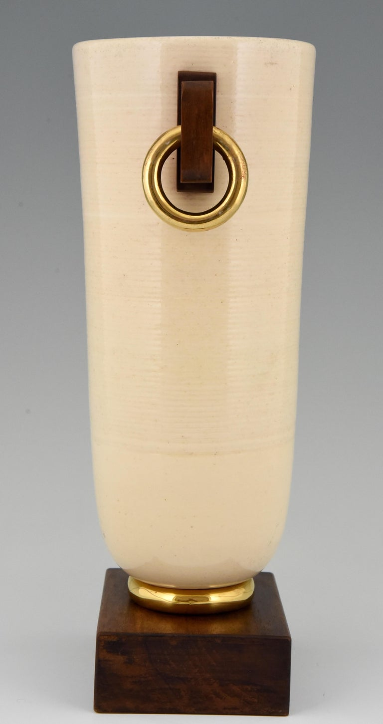 Glazed Art Deco Ceramic and Wood Vase Luc Lanel, France, 1930 For Sale