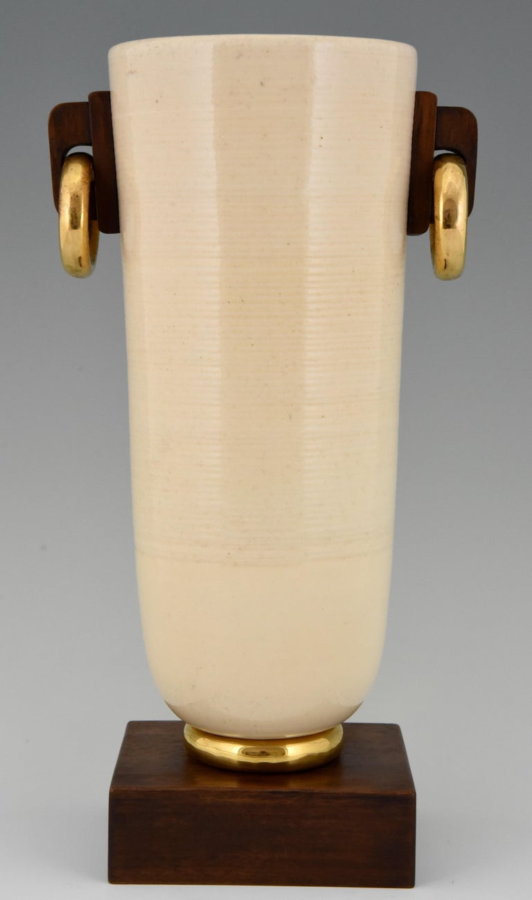 Art Deco Ceramic and Wood Vase Luc Lanel, France, 1930 In Good Condition For Sale In Antwerp, BE