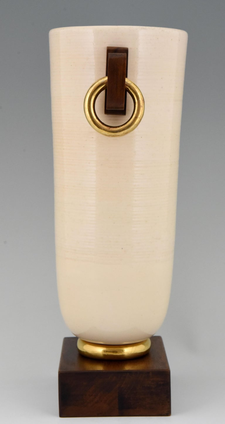 20th Century Art Deco Ceramic and Wood Vase Luc Lanel, France, 1930 For Sale