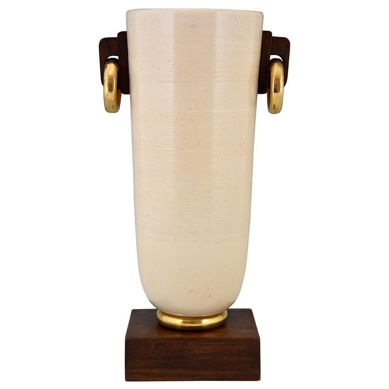 Art Deco Ceramic and Wood Vase Luc Lanel, France, 1930 For Sale