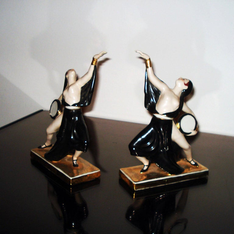 Art Deco Ceramic Bookends Dancers by ROBJ, France For Sale 3