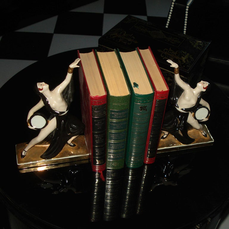 French Art Deco Ceramic Bookends Dancers by ROBJ, France For Sale