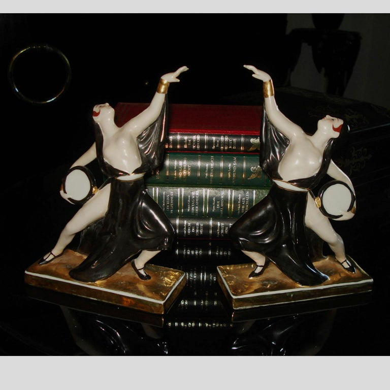 Early 20th Century Art Deco Ceramic Bookends Dancers by ROBJ, France For Sale
