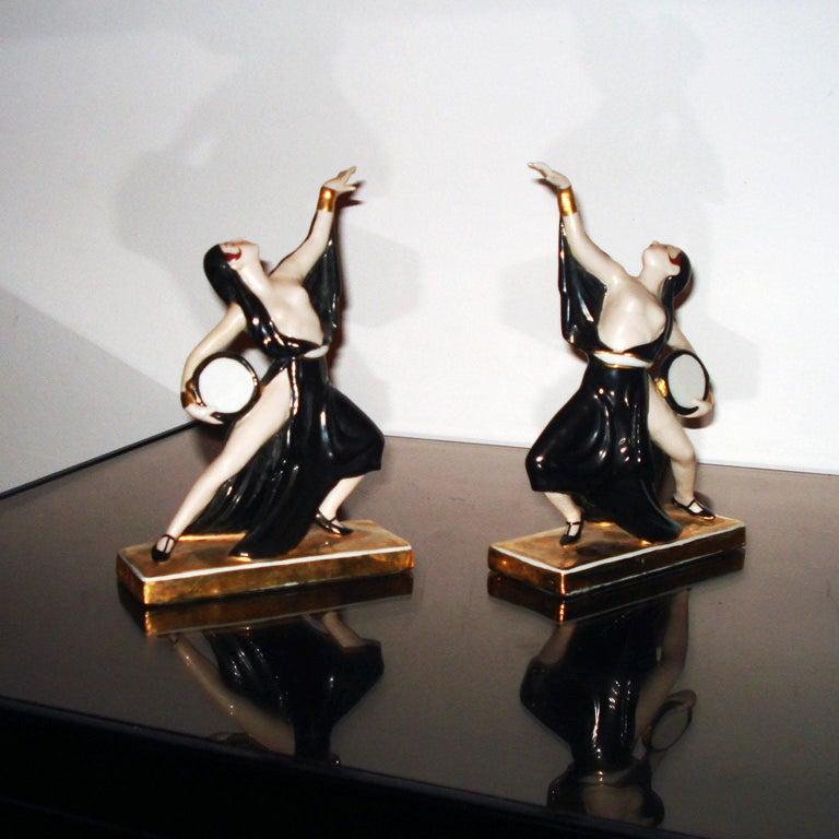 Porcelain Art Deco Ceramic Bookends Dancers by ROBJ, France For Sale