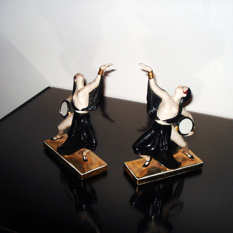Art Deco Ceramic Bookends Dancers by ROBJ, France For Sale 1
