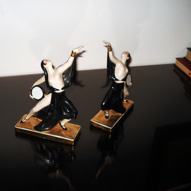 Art Deco Ceramic Bookends Dancers by ROBJ, France For Sale 2