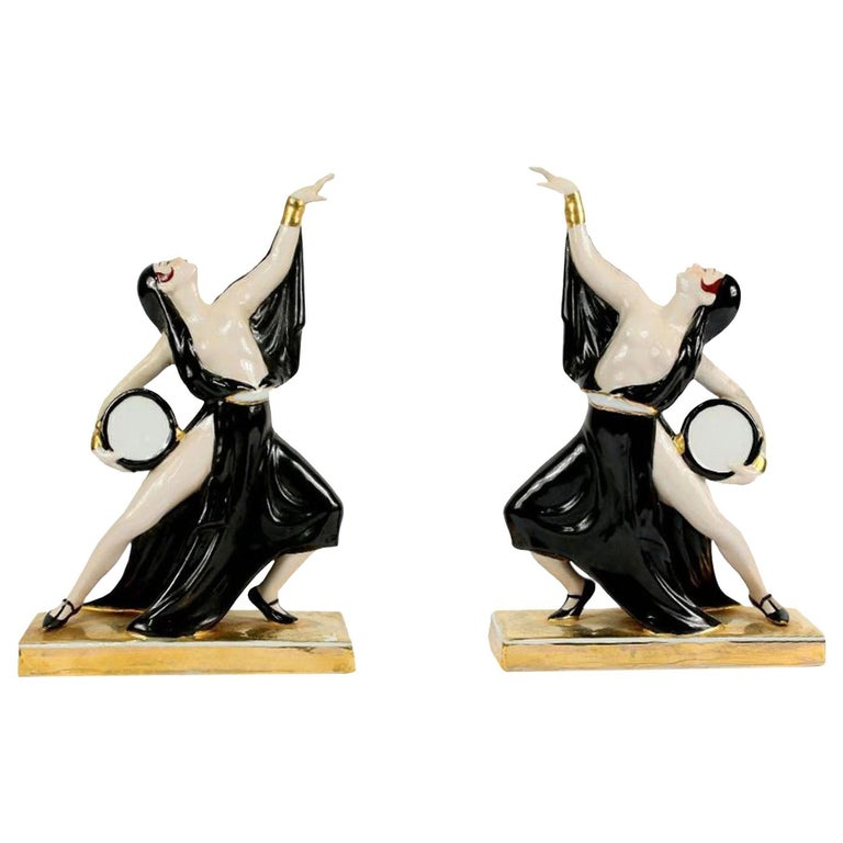 Art Deco Ceramic Bookends Dancers by ROBJ, France For Sale