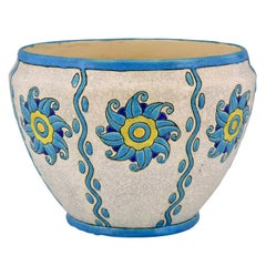 Art Deco Ceramic Cachepot or Planter Soleil Blue Charles Catteau for Boch, 1924
