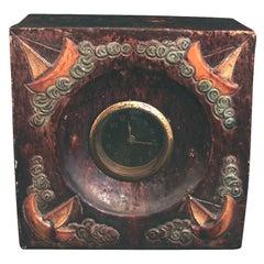 Art Deco Ceramic Clock with Sailboat Motif