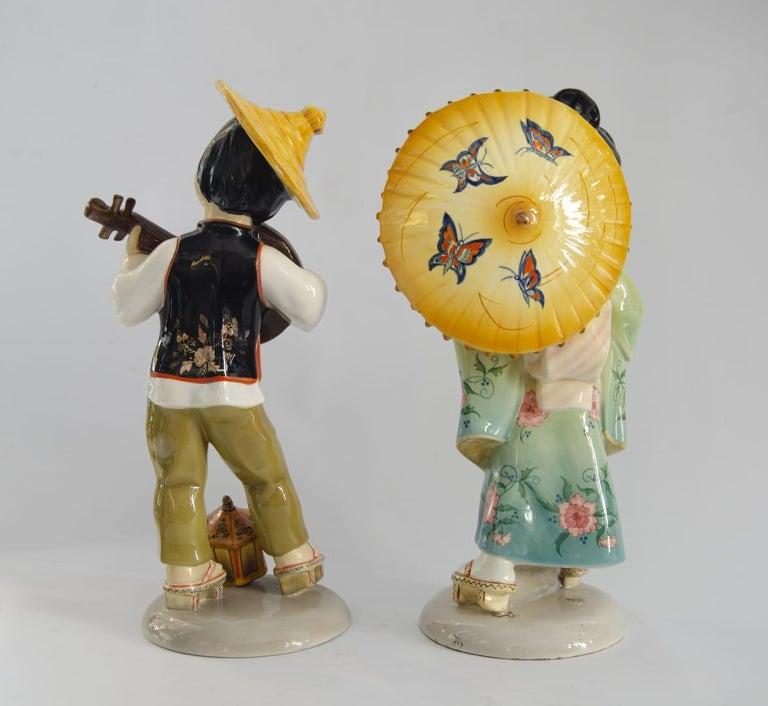 Art deco ceramic couple Giapponese Origin Italy manufacturing C I A Mana perfect state.
