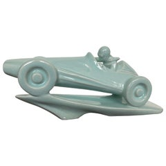 Art Deco Ceramic Figural Sculpture, Formula Racing Car/ Racer, Around 1940s