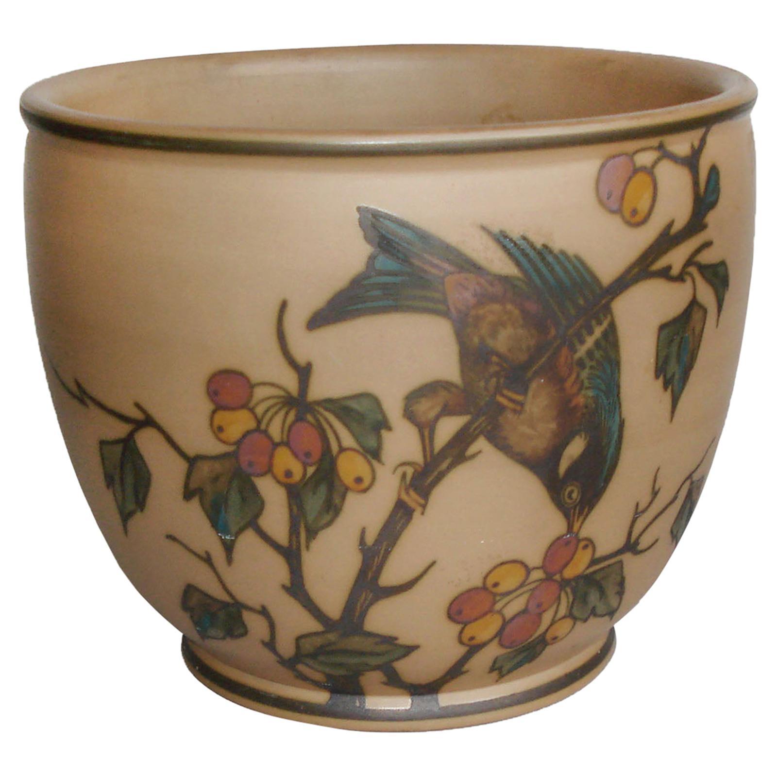 Art Deco Ceramic Flower Pot, Cachepot by Lauritz Hjorth, Bornholm, Denmark