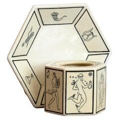 Art Deco Ceramic Inkwell Designed by Gio Ponti for Richard Ginori
