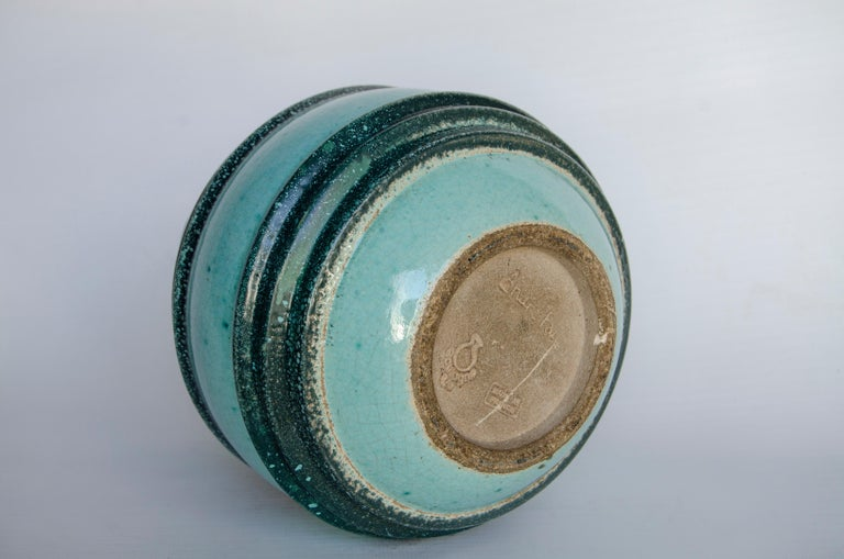 Art Deco ceramic manufactures Boulogne artist Andre fau circa 1940 perfect condition origin france ceramic in turquoise color.