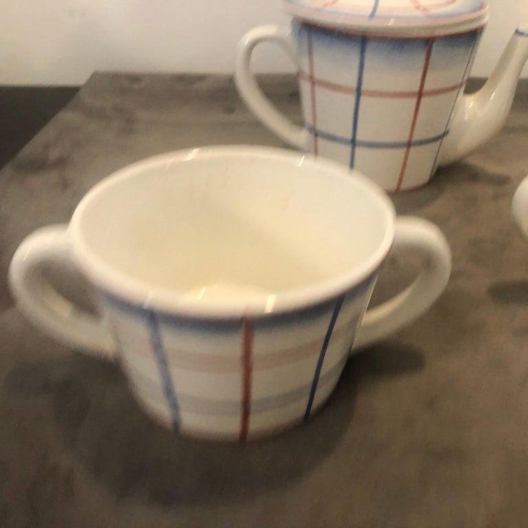 Mid-Century Modern Art Deco Ceramic Tea Set Designed by Gio Ponti for Richard Ginori, circa 1930 For Sale