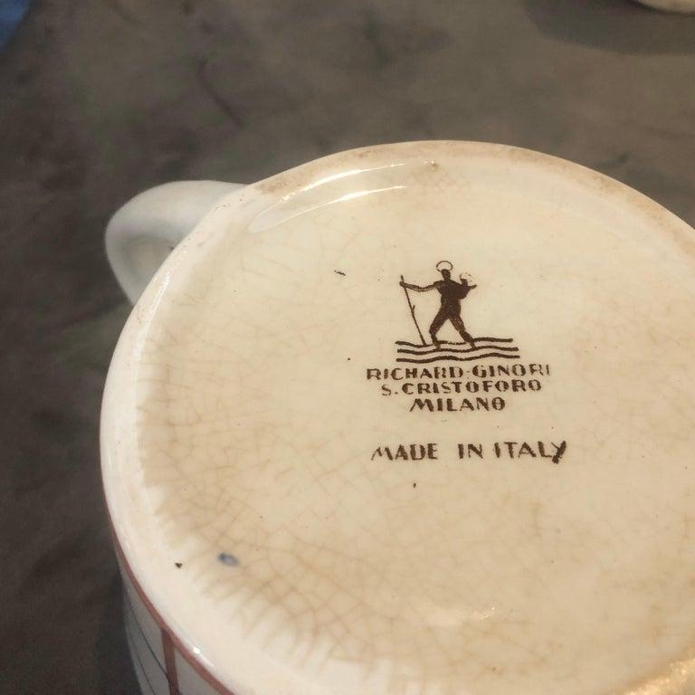 20th Century Art Deco Ceramic Tea Set Designed by Gio Ponti for Richard Ginori, circa 1930 For Sale