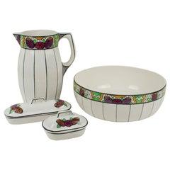 Art Deco Ceramic Toiletry Dresser Bowl, Pitcher and Boxes Set by Auguste Mouzin
