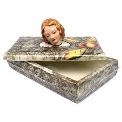 Art Deco Ceramic Trinket Box by Goldscheider, c1930