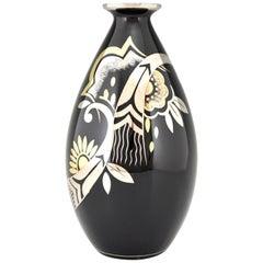 Art Deco Ceramic Vase Black Silver and Gold Boch Frères, Belgium, 1931