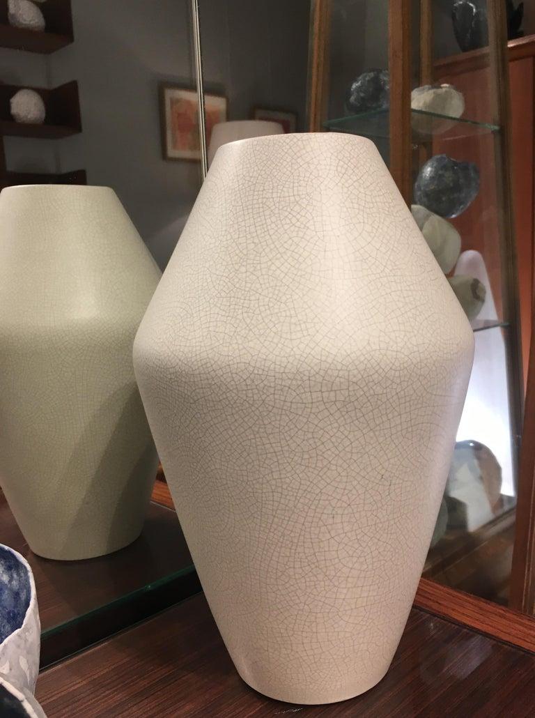 Very rare stylish minimalistic ceramic Art Deco vase by famous faience factory company