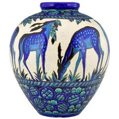 Art Deco Ceramic Vase with Deer Biches Bleues Charles Catteau Boch Freres
